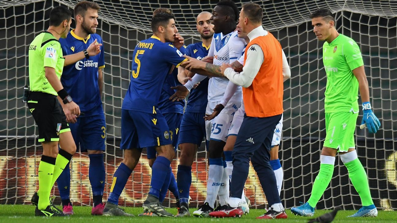 Mario Balotelli suffers racist abuse, threatens walk off after booting ball into crowd in Brescia defeat at Verona