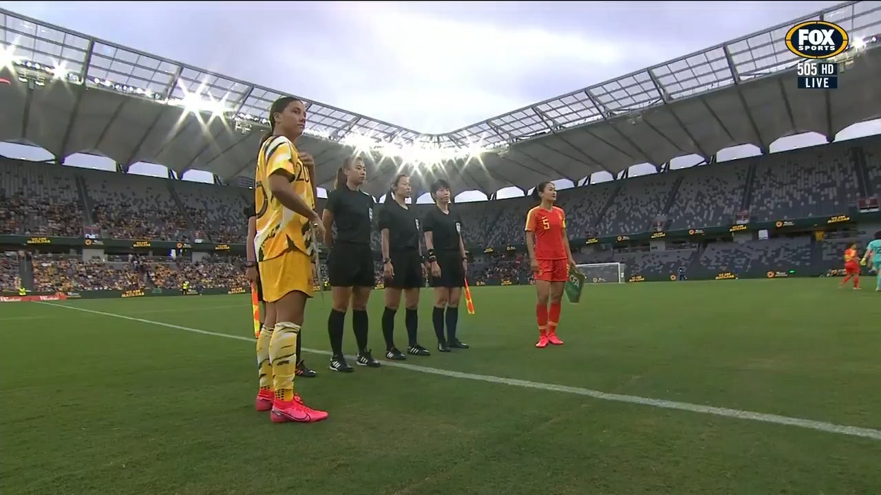 Before the start of the Olympic Qualifying match, the Australian federation gifted the Chinese team plush koala bears and bouquets and expressed solidarity with the Chinese people amidst the ongoing Coronavirus outbreak : WomensSoccer