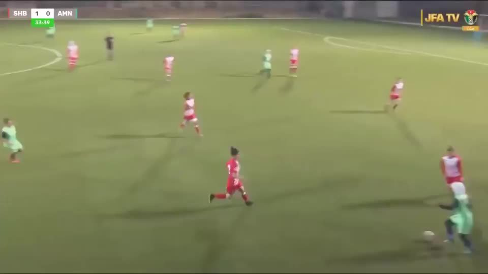 Rival players shield Jordanian footballer from view after her hijab comes loose during match : WomensSoccer